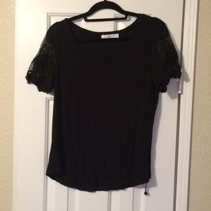 Black shirt with lace sleeves